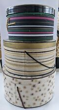 Set of 3 Vintage Millinery Hat Boxes Atomic Star, Striped -With Writing