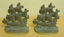 Vintage Pair of Unmarked Heavy Solid Bronze Pirate Ship Bookends