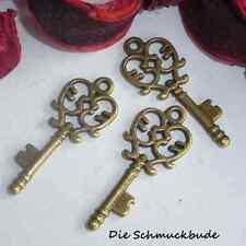 3 colgantes de claves 33x14mm Antique bronce