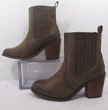 Pink Key Simple Brown Stretch Panel Distressed Ankle Boots Sz 8M