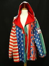VINTAGE MOSCHINO JEANS WORLD FLAGS  HOODED JACKET * sz 12