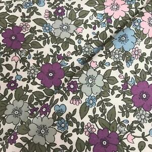 Rose & Hubble 100% Cotton Fabric - Lilac, Pink & Sage Pansy print CP0223 uk