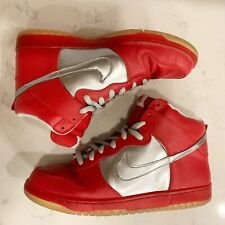 """Nike SB Dunk High Pro """"Mork and Mindy"""" Chrome, Red, Silver - Size 12"""