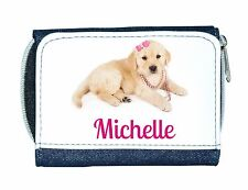 Personalised Girls Denim Purse With Puppy/Dog And Pink Bow