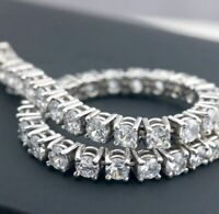 "7.00 Ct Diamond Tennis Bracelet 7"" Inch 1 Row Round Diamonds 14K White Gold"