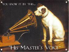 NUOVO 15x20cm il suo MASTER'S Voice HMV DOG & GRAMMOFONO piccolo in metallo Insegna Pubblicitaria