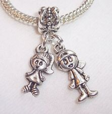 Boy Girl Twins Siblings Babies Dangle Bead fits Silver European Charm Bracelets