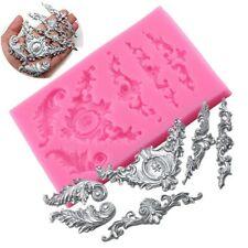 Rouleaux Baroque plume couronne coin Silicone moule gâteau Tooper décoration