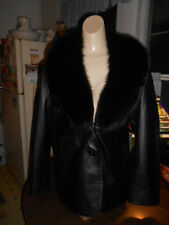 Women's Chosen Couture Black Leather Jacket with Dyed Fox Fur Collar Sz. L NWOT
