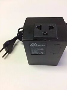 Seven Star 220 Volt Step Down Transformer 100 Watt 2 Round Pin EU 220V to 110V