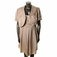 LE BOS NEW Gold Shimmer Embellished Knee-Length Dress With Jacket Plus  16W