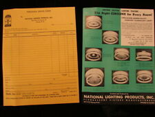 Vintage advertising Brochure National Lighting products circline fixture price
