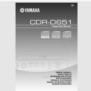 Yamaha CDR-D651 Audio CD Player Recorder Operating Instruction - USER MANUAL