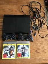 PS3 SUPER SLIM 12GB Konsole + 2 Sony Wireless Controller + 2 Spiele (USK 18)