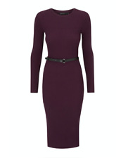 Karen Millen - Skinny Rib Knit - Belted Dress - New With Tag - Size - L - 16