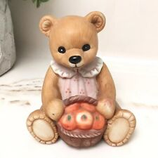 Homco Mama Teddy Bear w/ Basket of Apples In Pink Dress 1405 Harvest Girl Mother