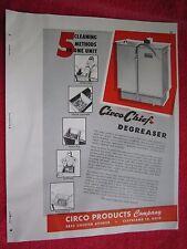1945 CIRCO CHIEF AUTOMOTIVE SHOP DEGREASER EQUIPMENT BROCHURE