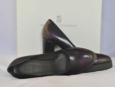 "NWB $1380 Brunello Cucinelli Leather HighHeeled 3"" and  Shoes Sz 7 Burgundy"