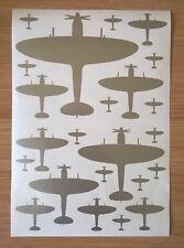 Silver Self Adhesive Vinyl Supermarine Spitfire MK9 Aircraft Silhouette Stickers