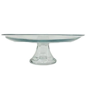 Cake Cupcake Glass Stand Display 12.75 x 5 inches Clear Transparent Fluted Base