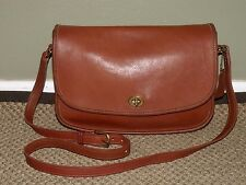 Vtg. COACH British Tan Leather CITY FLAP Crossbody Shoulder Bag Purse #9790