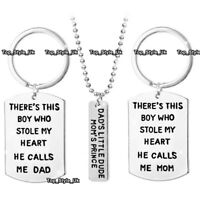 XMAS GIFTS FOR HER & HIM Dad Necklace Mum Silver Jewellery Keyrings Set Son E9