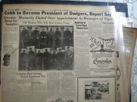 Baseball Ty Cobb Newspaper BECOMES PRESIDENT OF DODGERS? + FOOTBALL FARGO ND