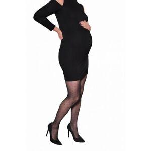 Pregnancy Maternity Tights Polka Dot Sheer 20 Den Black Nero Adrian Ambrosia M 3