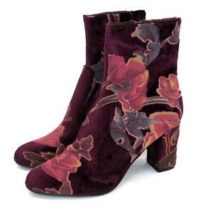 Steve Madden Elissa Burgundy Velvet Floral Ankle Boots | Women's 7.5M