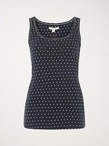 NEW WHITE STUFF UK Size 6 TABITHA WOMENS LADIES NAVY SPOT JERSEY COTTON TOP