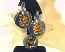 2-Tone Black Oxidized 925 Silver Baltic Sea Honey Amber Pendant Earrings Set #4