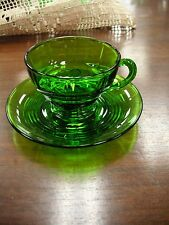 "Moondrops Emerald Green 2 1/2"" Cup & 5 1/2"" Sauces - Very Good Condition #46"