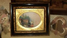 VINTAGE OVAL OIL PAINTING ON CANVAS FRAMED HAND CRAFTED GOLD & BLACK*41,5cmX35cm