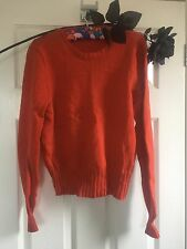 True Vintage Jumper Knitted Orange Popper Neck Small 60s 70s 6 8