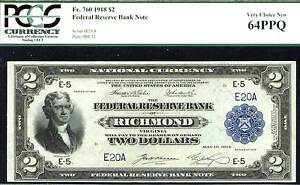 1918, $2 FR 760- FR-760, Richmond, VA-FINEST & LOWEST S # 20! Only 3 in all
