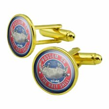 Back 40 Possum on the Half Shell Roadkill Round Cufflink Set Gold Color