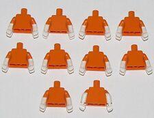 LEGO LOT OF 10 NEW ORANGE MINIFIGURE TORSOS WITH WHITE GLOVES FIGURE PARTS