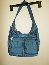 Women Travelon blue nylon shoulder handbag compartment travel bag purse