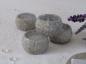 Sets 4,8,12 Silver Beaded Napkin Rings Holder Table Serviette Wedding Christmas