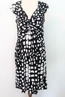 Basque stretch jersey black & white print short sleeve dress - 12 FREE POST