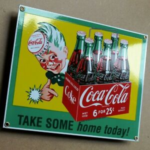 COCA COLA  = Altes Emailschild Atlanta 1990 MAKELLOS Limonade Sixpack SPRITE BOY