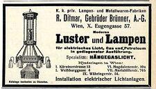 R.Ditmar Gebr.Brünner A.G. Wien X. Luster Lampen Hängegaslicht elektrisch...1909
