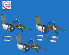 "Cabinet Lock/Coin Door Lock, 7/8"" Single Bitted - Pack of 3 Locks Keyed Alike!"