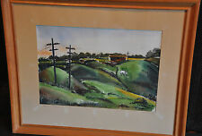 H. G. COHEN - WATERCOLOR PAINTING  ROLLING GREEN VERMONT HILLS HORSE BARN 1942