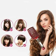 Woman Boar Bristle & Nylon Hair Brush Anti-static Hair Paddle Scalp Comb Ma X3Q2