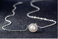Pearl Crystal Stone Pendant Necklace 925 Sterling Silver Chain Womens Jewellery