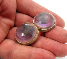 Vintage Signed CORO Lavender Stone Gold Tone Round Button Style Clip Earrings
