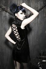 NEW Punk Rave Rock Gothic Sexy Black Velvet Dress Q-179 ALL STOCK IN AUSTRALIA!