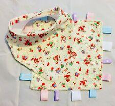 Baby, Bandana Dribble Bib And Taggie Blanket Set, Handmade, Story Theme On Cream