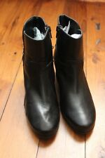 Wide Steps Gerald Black Leather Ankle Boots Size 35w Cuban Heels $180 Worn Once